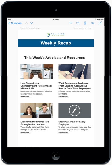 Training Industry Weekly Newsletter email