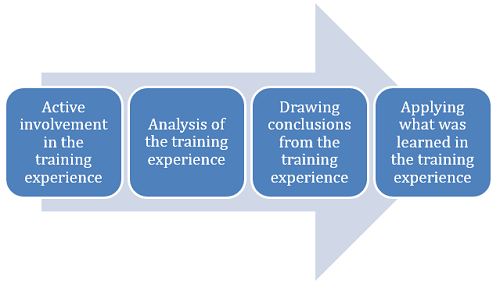 Active involvement in the training experience --> Analysis of the training experience --> Drawing conclusions from the training experience --> Applying what was learned in the training experience