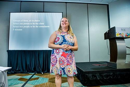 Lauren Harris, CPTM, presenting her TICE session