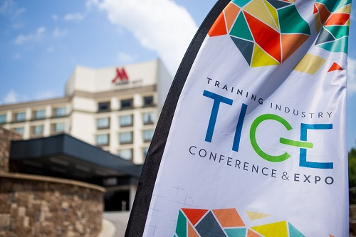 TICE banner outside the Marriott Crabtree in Raleigh, NC